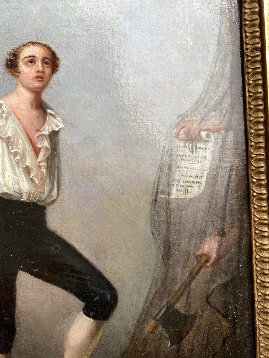 Portrait du Poète André Chénier Montant À L'échafaud, tableau romantique  Signé Peronard-photo-3