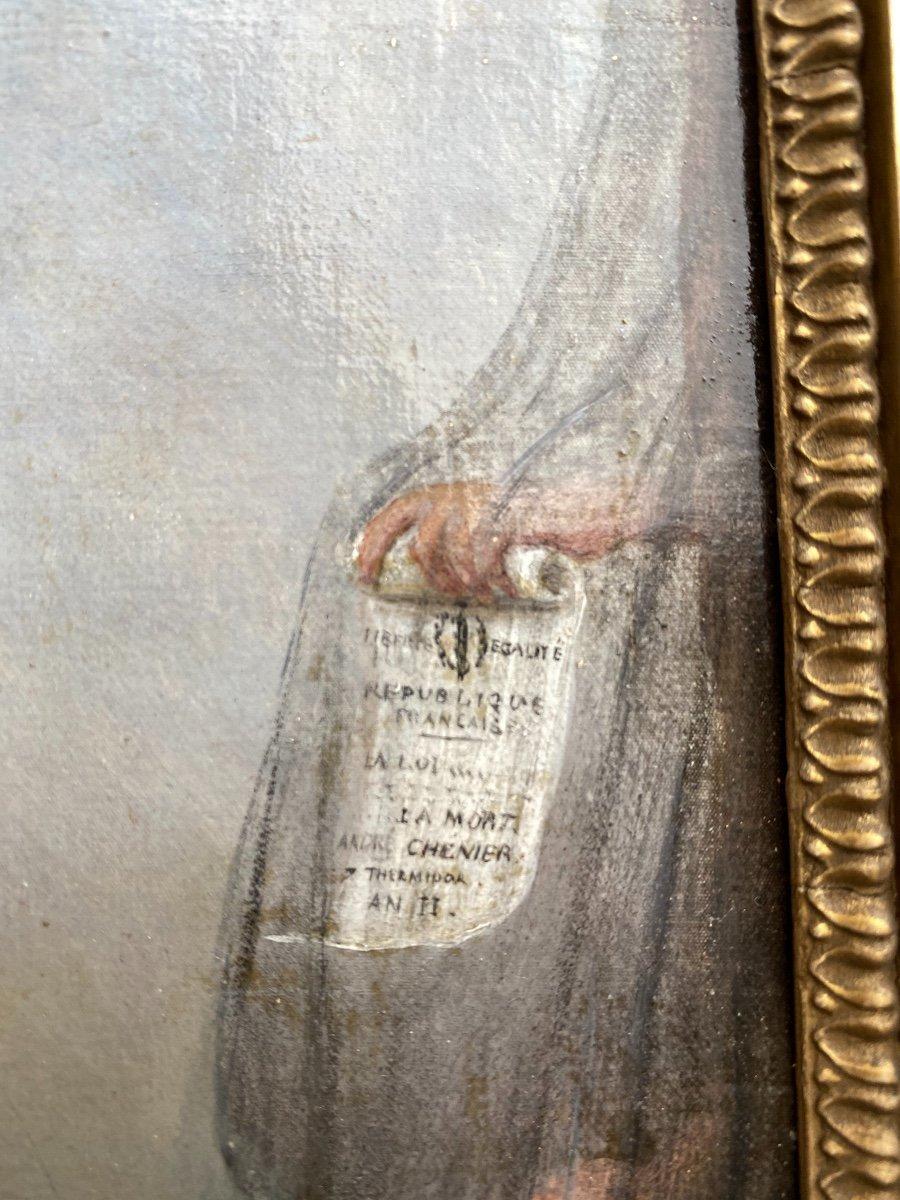 Portrait du Poète André Chénier Montant À L'échafaud, tableau romantique  Signé Peronard-photo-4