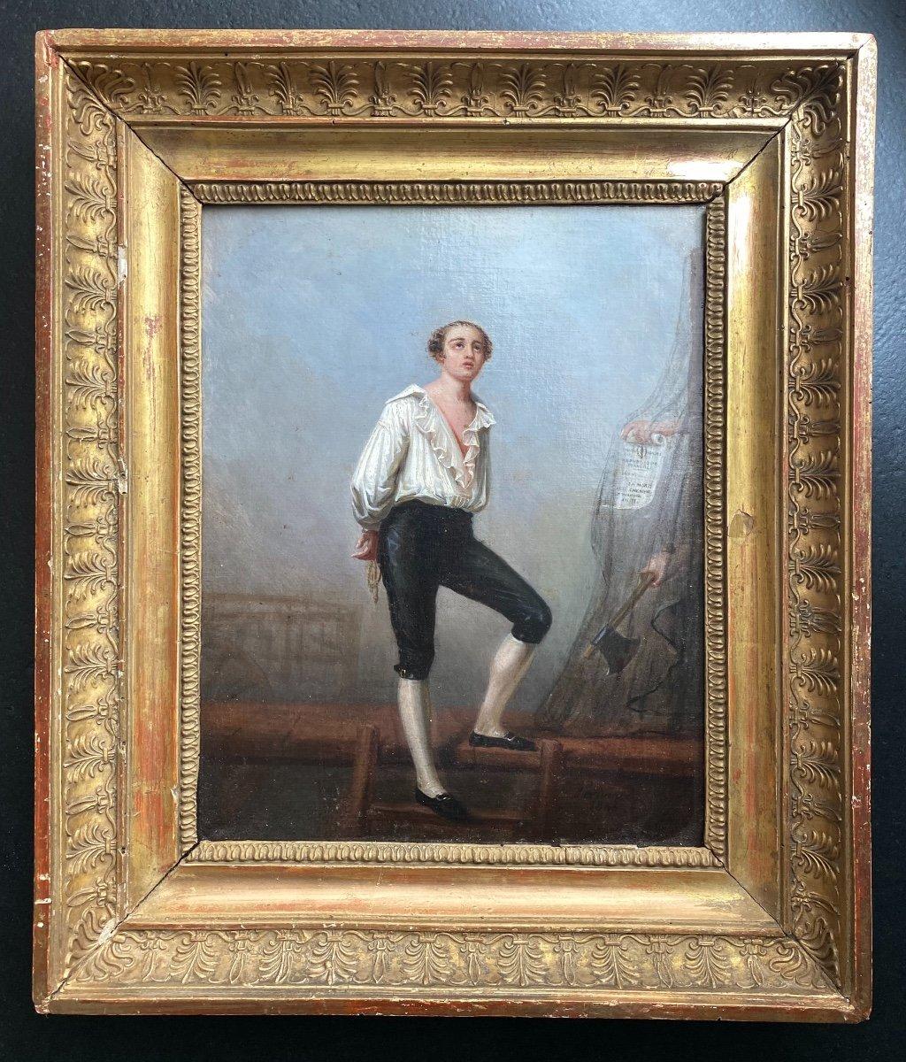 Portrait du Poète André Chénier Montant À L'échafaud, tableau romantique  Signé Peronard
