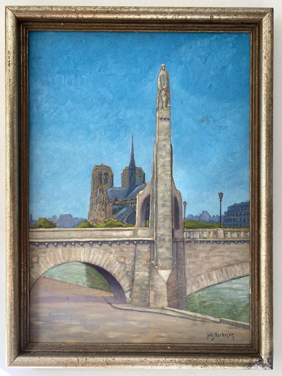 Vue De Notre-dame De Paris Et La Sainte Geneviève De Landowsky Tableau Art Deco -photo-3