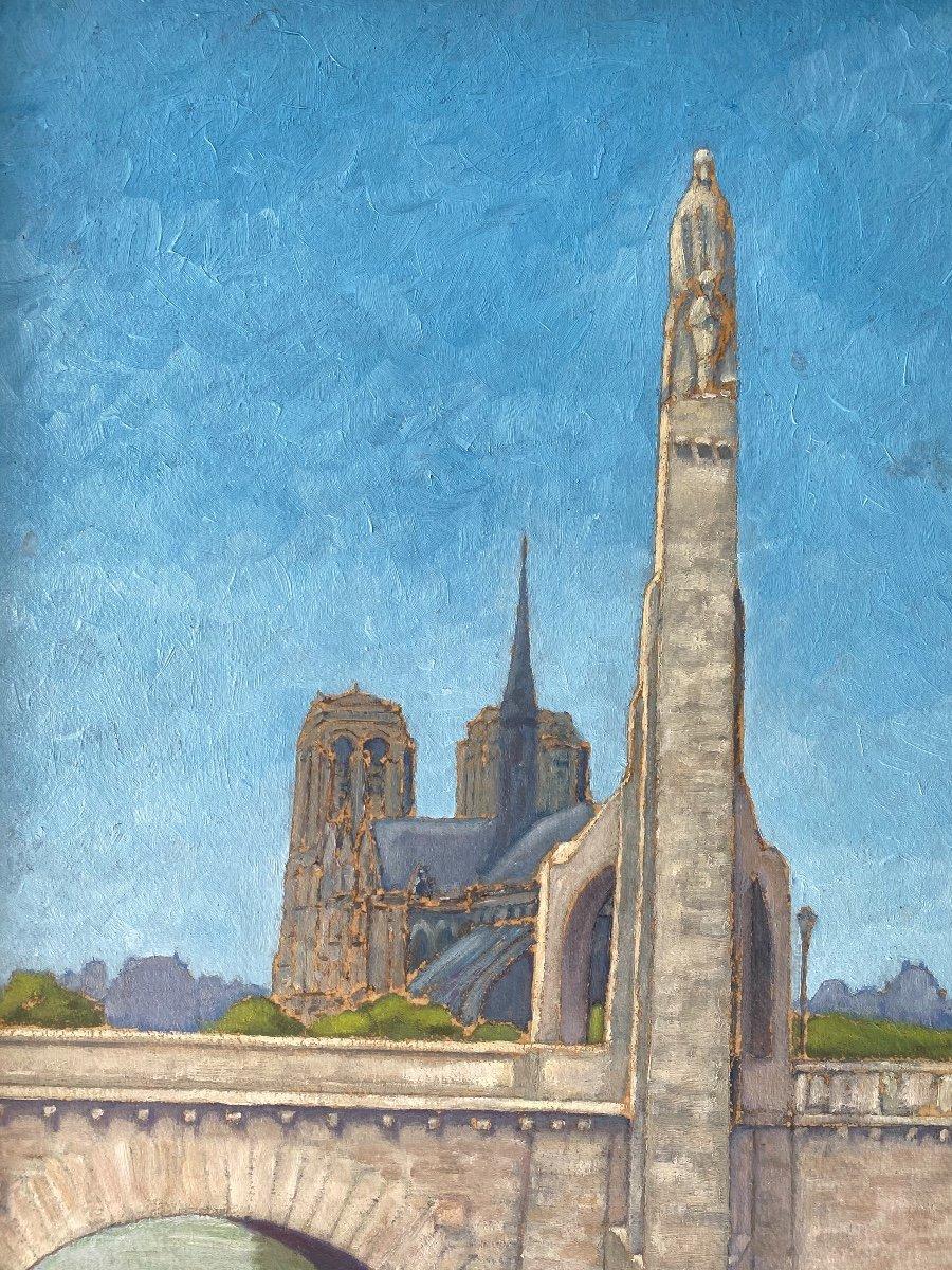 Vue De Notre-dame De Paris Et La Sainte Geneviève De Landowsky Tableau Art Deco -photo-4