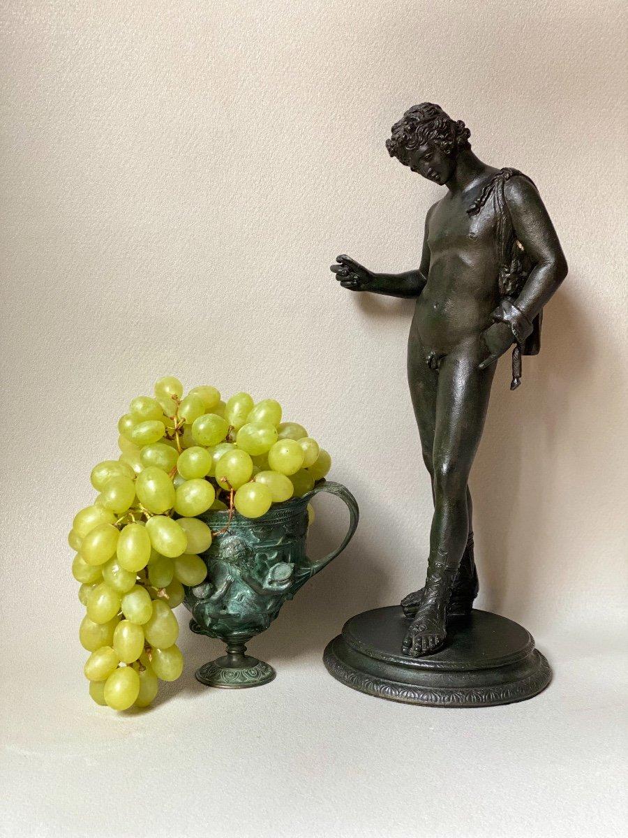Set Of Bronze Dionysos Bacchus Narcissus XIX Grand Tour After Ancient Pompeii Naples-photo-3