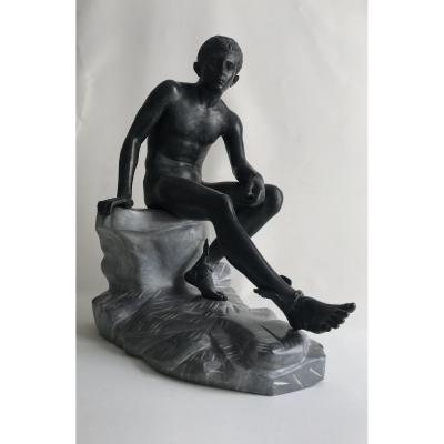 Hermes / Mercury   Bronze On A Marble Base - Grand Tour- After The Antic Of Herculanum.