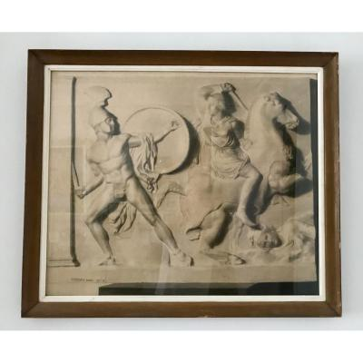 Two  Large Drawings XIX  -  Greeks Fighting  Amazons - After An Ancient Low Relief, G.thierry