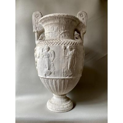Large Plaster Crater Vase After Ancient Roman Marble Of The Louvre