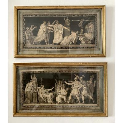 Rare Pair Of 18th Etchings After Moitte, Neoclassical