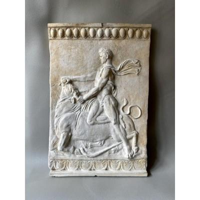 Rare Compana Plaque:  Large High Relief Of The Fight Of The Bull