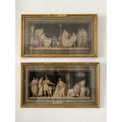 Paire De Gravures XVIII D'après Moitte Scènes à L'antique, Néoclassique