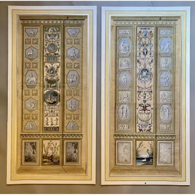Large Pair Of XVIII Hand Colored Engravings Of Panels From The Lodge Of Raphael In The Vatican
