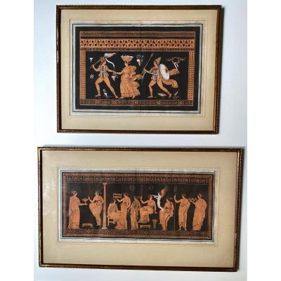 Pair Of Engravings Hancarville - Hamilton , XVII , Ancient Mythology