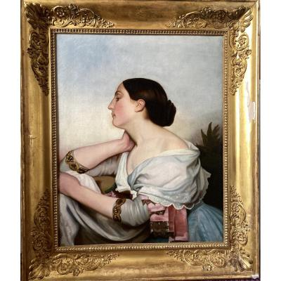 Romantic Portrait 1839 French Woman Picture  Painting