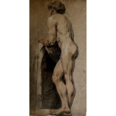 19th Century Nude Male  French Academic Drawing