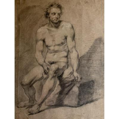 Academic Drawing French School 18th  - Nude Male - Setting Man