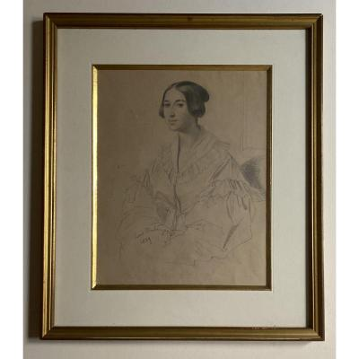 Drawing Portrait Of A Woman Louis Boulanger Romantic Period 19th