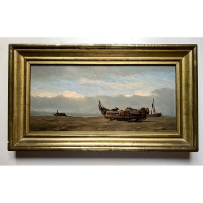 Boats On A Beach - Marine -oil Painting - French School From The End Of The 19th Century
