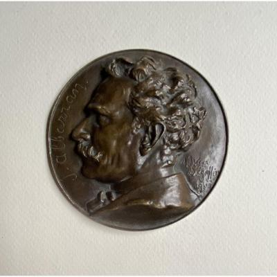 Joaquín Albarrán Medaillon En Bronze  Signé Victor Segoffin (1867-1925)