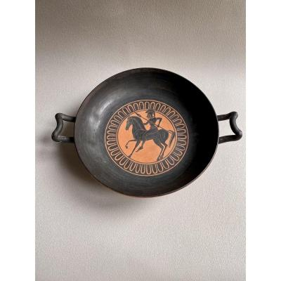 Greek Kylix Cup With Black Figures With Hoplite Decorations, 19th Century Replica After The Ant
