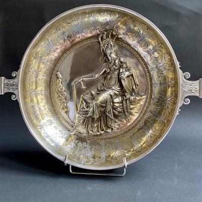 Coupe Patère à La Minerve Réplique Du Trésor d'Hildesheim Par Christofle Bronze Argenté Et Doré
