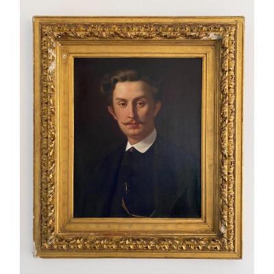 Portrait D'homme Par Francisque Edouard Bertier 1868