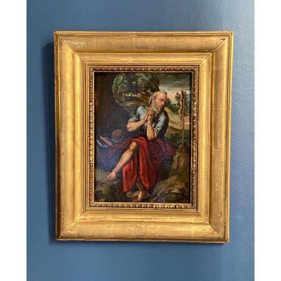 Saint Jerome Flemish School Circa XVII Oil On Panel Crucifix Vanity