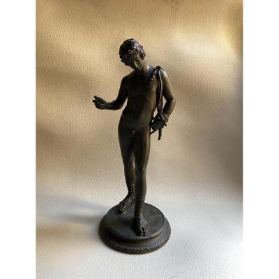 Statue En Bronze De Dionysos Bacchus Narcisse réplique XIX Grand Tour  , Pompéi Naples
