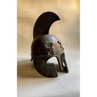 Corinthian Helmet In Bronze XIX After Ancient Greek