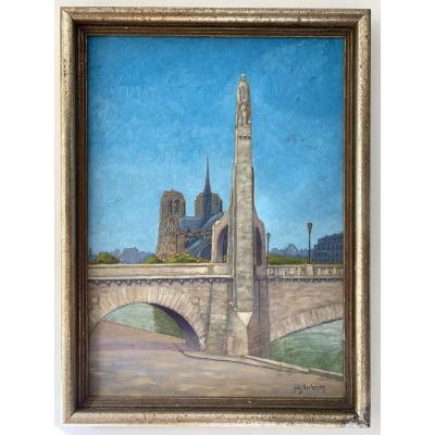 Vue De Notre-dame De Paris Et La Sainte Geneviève De Landowsky Tableau Art Deco