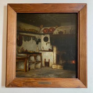 Intérieur De Cuisine, Nature Morte, tableau de Jules Valadon Huile  XIX Suiveur De Chardin