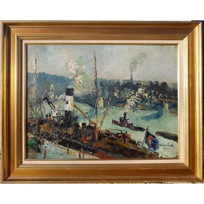Pierre Hode - View Of Rouen Harbour - 1919 - Oil On Canvas 46 X 61 Cms