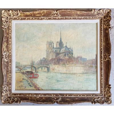 GUSTAVE MADELAIN - NOTRE DAME DE PARIS - HUILE 60 x 73 cms