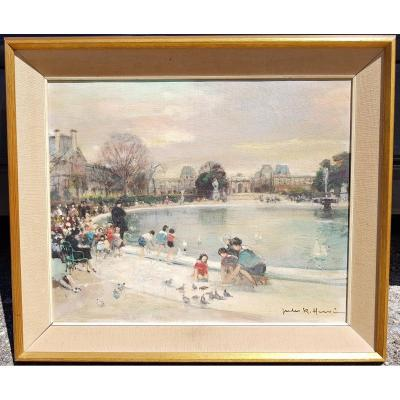 Jules René Herve - Oil On Canvas 38 X 46 Cms - Children In Tuileries Garden, Paris