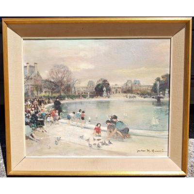 Jules René HERVÉ - HUILE SUR TOILE 38 x 46 cms - ENFANTS AU JARDIN DES TUILERIES, PARIS