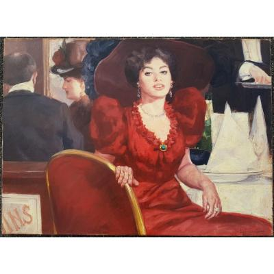 Leon Zeytline - Belle Epoque - Woman At Restaurant - Large Oil On Canvas 100 X 73 Cms
