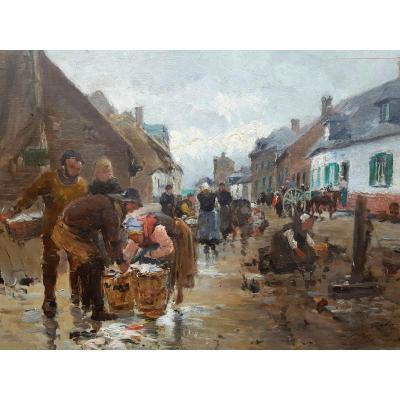 GAGLIARDINI - DÉCHARGEMENT DES POISSONS A CAYEUX SUR MER (SOMME) - 1882