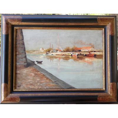Marcel DYF - ARLES, LE CANAL - HUILE SUR TOILE 38 x 55 cms - CATALOGUE RAISONNE
