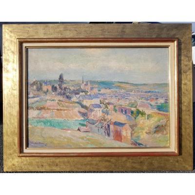Albert Lebourg - Panoramic View Of Rouen C. 1900 - Rare Oil 46 X 65 Cms