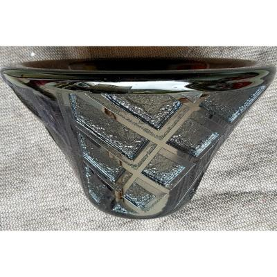 Daum Nancy - Large Art Deco Bowl - Geometric - Deeply Acid-etched - C. 1930