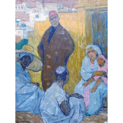 Fernand LANTOINE - MAROCAINS EN CONVERSATION - HUILE SUR PANNEAU - 40 x 35 cms