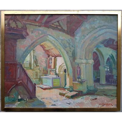 Sydney Lough Thompson - Bigouden Chapel In Brittany - Oil On Canvas 54 X 65 Cms