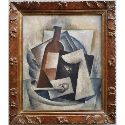 Cubist Composition XXth - Attributed Robert Marc - Oil On Canvas - Still Life Pipe Bottle