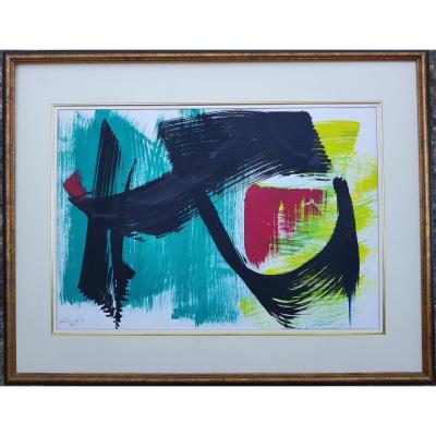 Gerard Schneider - Composition - 52 X 74 Cms - Certificate Of Authenticity