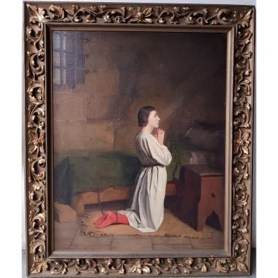 Charles-henri Michel - Jeanne d'Arc Praying In Her Cell In Rouen - Oil On Canvas - 1904
