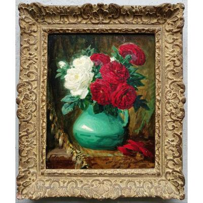 Pierre-eugene Montezin - Oil 33 X 41 Cms - Bouquet Of Roses - C.1900 - Authentication