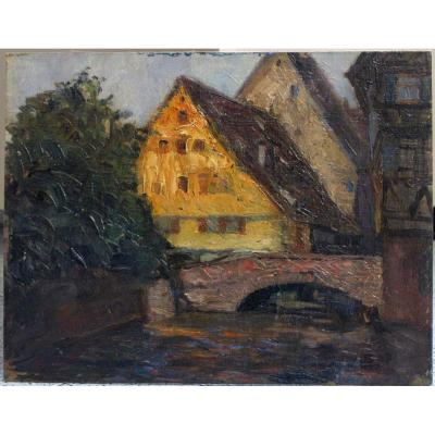 French School - Oil On Canvas - Canal In The Old Town - 1925