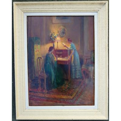 Delphin Enjolras - Two Elegant In An Interior - Oil 73 X 54 Cms
