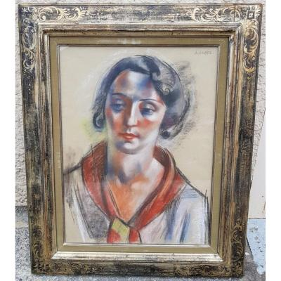 André Lhote - Large Pastel 64 X 48 Cms - Portrait Of Anne - 1931
