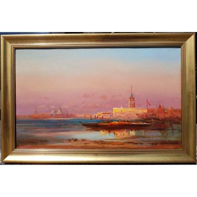 Henri Duvieux - Venice In Sunset - Large Oil On Canvas C.1890