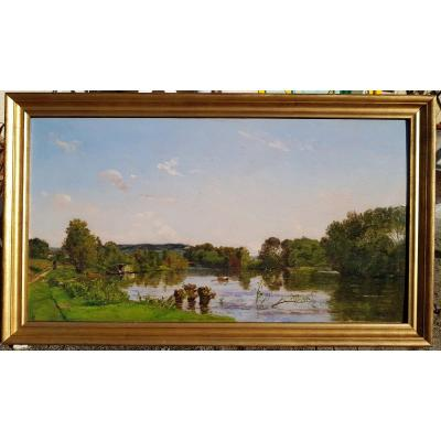 Hippolyte-camille Delpy - Barbizon - Rowing On The River - Oil On Panel - 1891
