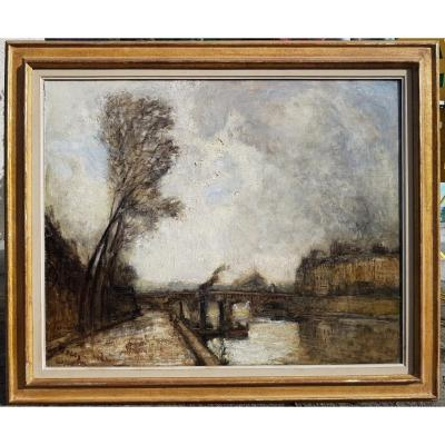 Frank Boggs - American Impressionist - The Seine At Pont-neuf, Paris - Large Oil On Canvas