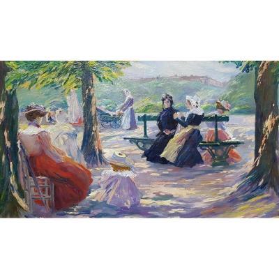 Elegant Ladies In A Park